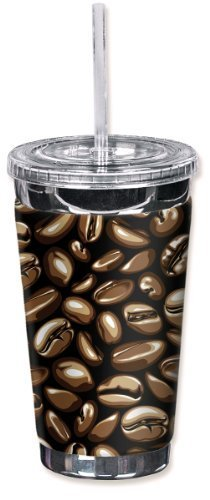 Mugzie 828-TGC ''Coffee Beans'' To Go Tumbler with Insulated Wetsuit Cover, 16 oz, Black by Mugzie