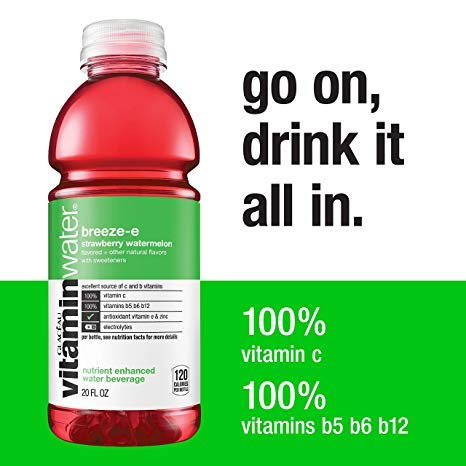 - vitaminwater breeze-e, Strawberry Watermelon, 20 Oz Bottle (Pack of 12)