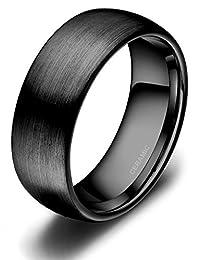 SOMEN TUNGSTEN 4mm 6mm 8mm Black Ceramic Rings Brushed Comfort Fit Engagement Wedding Band Size 4-13
