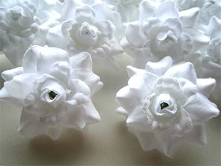 (24) White Roses Silk Flower Head - 1.75