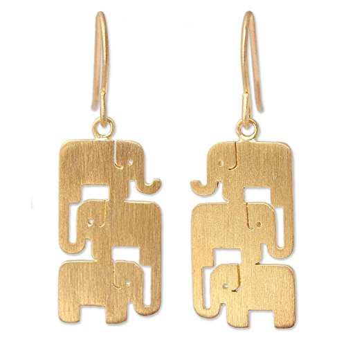 (NOVICA Yellow Gold Plated .925 Sterling Silver Vermeil Dangle Earrings, Elephant Stack')