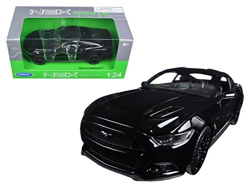 Diecast 2015 Ford Mustang GT Black 1/24 Diecast Model Car by Welly -  24062BK