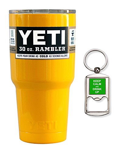 Yeti Coolers Stainless Steel 30 oz Rambler Tumbler with Lid and Free Bottle Opener Keychain (Yellow)