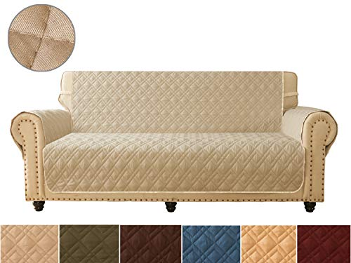 (Sofa Cover, Reversible Quilted Furniture Protector, Ideal Loveseat Slipcovers for Pets & Children, Water Resistant, Will Keep your Couch Stain, Dirt & Scratches-Free | Double line checkered grid)