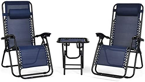 Giantex 3 PCS Zero Gravity Chair Patio Chaise Lounge Chairs Outdoor Yard Pool Recliner Folding Lounge Table Chair Set Navy