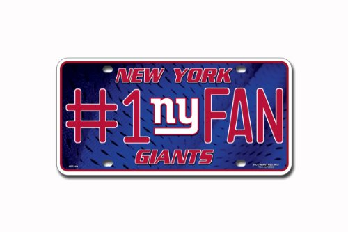 NFL New York Giants #1 Fan Metal Auto Tag