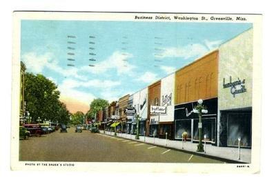 Washington Street Greenville Mississippi Postcard 1949 Business District (Mississippi Postcard)