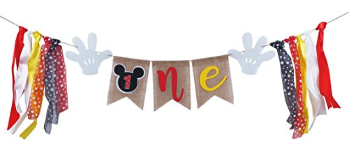 Mickey Mouse 1st Birthday Banner, Handmade First Birthday Highchair Banner mickey mouse photo props Party Decorations Supplies