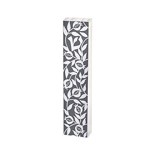 Dorit Judaica Perspex Clear Acrylic Mezuzah Mezuza Case Pomegranate Vines Pattern Design Gray (MP-11)