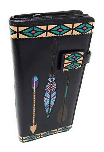 Shagwear Aztec Arrow Pattern Wallet for Women Black