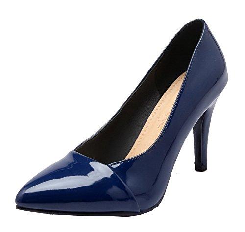 Verni Agoolar Haut Gmbdb011845 Chaussures Couleur Talon Légeres Tire Unie Pointu À Femme Bleu xwxYqa4