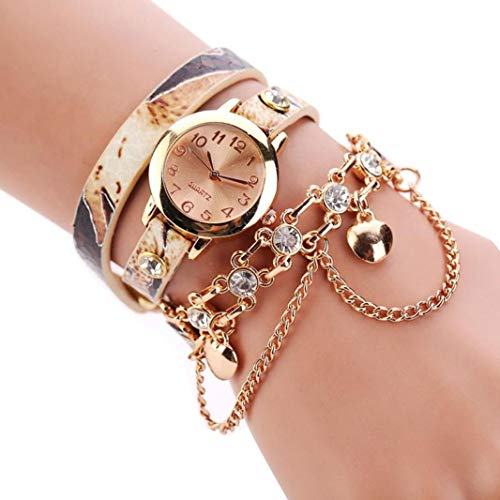 Price comparison product image Ladies Wrap Around Strap Rhinestone Rivet Chain Analog Quartz Bracelet Wrist Watches (Beige)