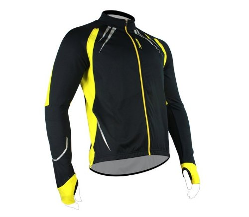 SANTIC Cycling Fleece Thermal Long Jersey Winter Jacket Black/Yellow-Gabriel S (Cycling Jersey Winter compare prices)