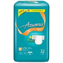 Assurance Stretch Briefs with Tabs, Ultimate Absorbency, Large/XL, 32 Count