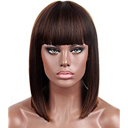 Kalyss Bob Short Hair Wig for Black Women Heat Resistant Yaki Synthetic Hair Brown Women's Wig With Hair Bangs (Brown)