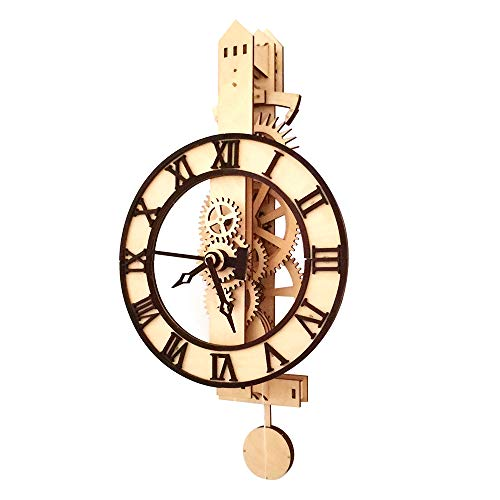 WOPACR DIY Wooden Mechanical Pendulum Clock Model Educational Model Handcrafted