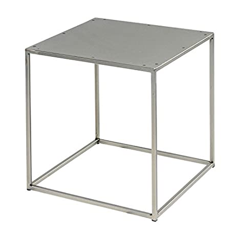 Clear Coated Steel Cube Side Table, Stool, End Table, Or Coffee Table