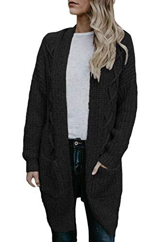 430f3d03e8 SilkRoadOriginal Women Pocketed Cable Knit Cardigan Black S