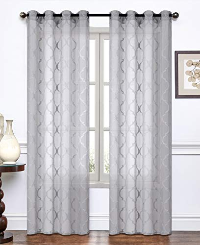 """Curtainsville Two Panels Dante Turf Embroidered Rhombus Window Treatments Lace Sheer to semi-sheer Curtains, Voile Draperies with Silver Grommet Top 54"""" wide 84"""" Length 7ft Long (Dante/Grey, 54"""