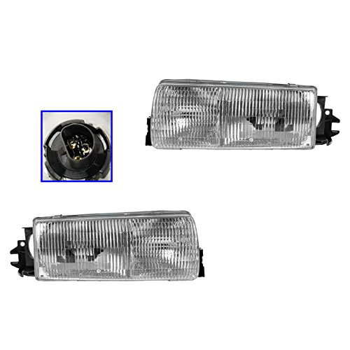 Headlights Headlamps And Mounting Panel Pair Set for 91-96 Chevy Caprice (Buick Roadmaster Wagon Headlight)