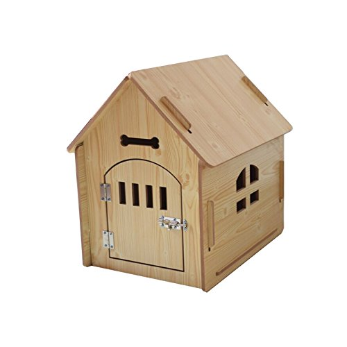 TANGDOU Dog Kennel Solid Wood Small and Medium-Sized Indoor Outdoor Wooden Wooden Kennel Dog House cat House pets-PINK-L-445757CM