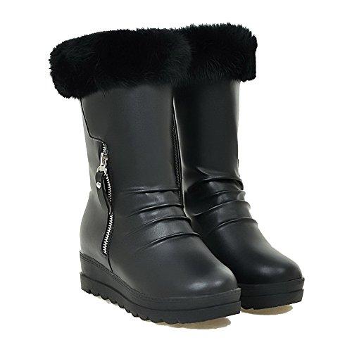 Allhqfashion Women's Solid Kitten-Heels Round Closed Toe PU Zipper Boots Black jokCy9vu
