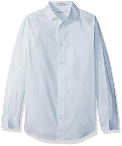 Calvin Klein Big Boys' Long Sleeve Dobby Button-Down Dress Shirt, Whisper Green, 20