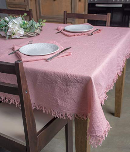 Pure Linen Natural Tablecloth with Fringe Edges - Nice Home Dinner Table Cover -