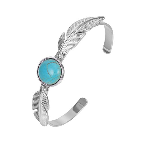 Turquoise Leaf Bracelet - Women's Bangle Bracelet, Leaves Turquoise Bead Charm Bracelet for Girls Gold and Silver Plated Friendship Bracelet Cuff Bracelet (Silver Plated with Turquoise)