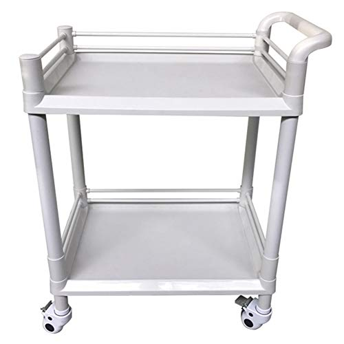 LXLA - 2 Shelves ABS Beauty Salon Trolley Spa Medical Serving Carts with Wheels and Handle (Size : 54×37×90cm)