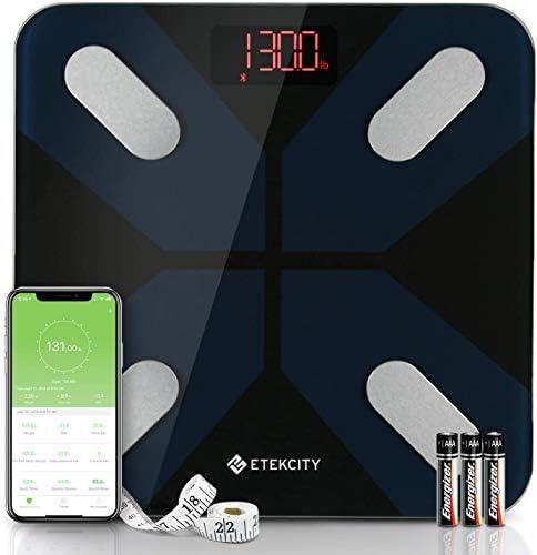 ETEKCITY Báscula de Baño Grasa Corporal Bluetooth, Pantalla LED (30 * 30 * 2,5 cm), 180 kg, Peso Corporal Inteligente de 13 Parámetro Esencials, Medición de Alta Precisión, para iOS y Android,