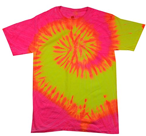 100% Cotton Colorful Tie Dye Vibrant Shirt, Fluorescent Swirl, 5XL ()