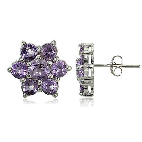 Amethyst Flower Dangle - Sterling Silver Genuine Amethyst Flower Stud Earrings