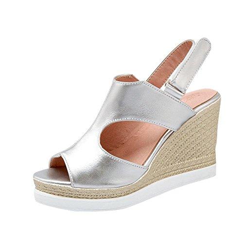 Mee Shoes Damen modern bequem populär Peep toe Keilabsatz Slingback Klettband amtungsaktiv Blockabsatz Sandalen Silber