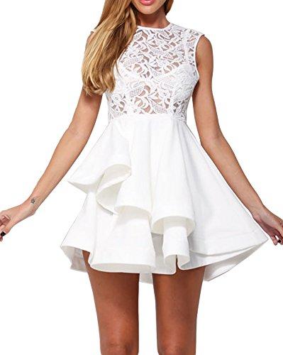 made2envy Lace Asymmetric Hem Skater Dress (S, White) - Peplum Sequin