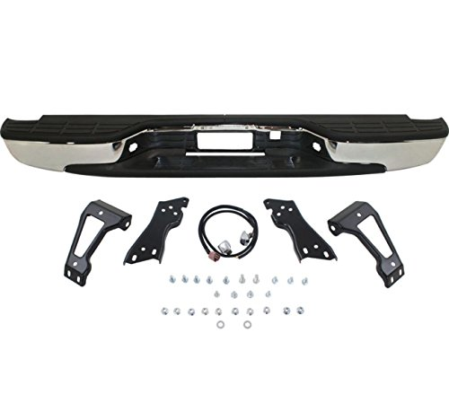 Rear Chevy Silverado Bumper - Make Auto Parts Manufacturing - Silverado Rear Step Bumper Chrome With Brackets Light Kit Bolts Bar GM1103122 - 99-06 Silverado Fleetside 1500