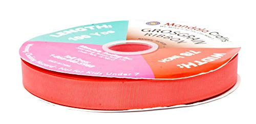 Mandala Crafts Grosgrain Ribbon from Polyester Fabric for Gift Wrap, Hair Ties, Bows, Luggage, Scrapbooks, Decoration, Sewing (7/8 Inch 22mm, Coral)