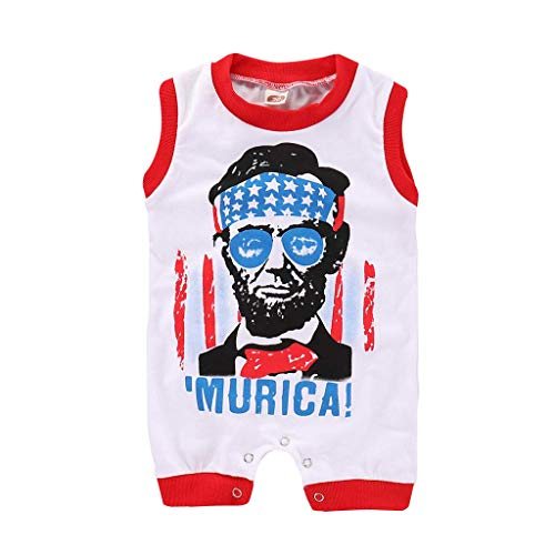 ❤Ywoow❤ Summer Baby Romper, Girls Boys 4th of July Stars Letter Printed Romper Infant Baby Jumpsuit Outfits (Red, 3-6 Months)
