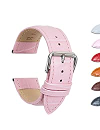 Ullchro Watch Strap Replacement Genuine Leather Watch Band Stitched Edging Bamboo Grain - 12, 14, 16, 18, 19, 20, 21, 22, 24 mm Watch Bracelet with Stainless Steel Silver Buckle (14mm, Pink)