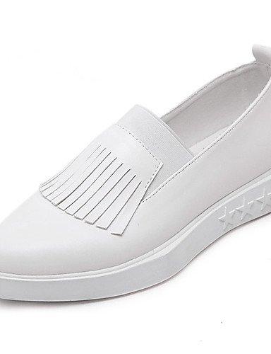 Blanco De 5 us7 5 Eu38 White Plataforma White Uk6 Semicuero Uk5 Bajo Puntiagudos Zapatos us8 Cn40 Mocasines Gyht Tacón Eu39 Casual 5 Cn38 Negro Mujer 5 Zq EC7qc