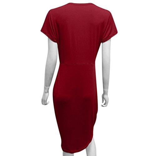 col Femmes Longues Courtes pour d't pour Rouge en Manches d't SAMLIKE V Robe Robe Femmes Manches IBq6gwxAtn