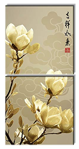 2 Panel Square Auspicious Chinese Style Art with Magnolia Flowers x 2 Panels