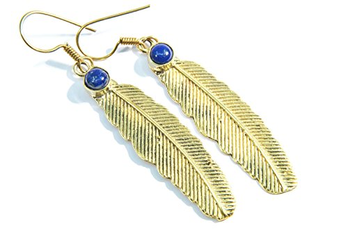Boucles d'oreilles liaton avec lapis lazuli 62 mm x 12 mm