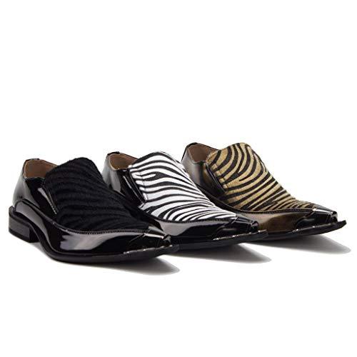 26926 Pointed Loafers Skin Tip Men's Black Metal Shoes Faux Urban White Snake Jazame Dress zS4nwqxz