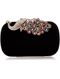 BMC Womens Elegant Rhinestone Peacock Clasp Velvet Cocktail Evening Handbag