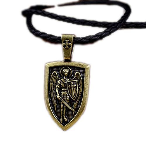Men Necklace Archangel Saint Shield Protection Charm Russian Orthodox Pendant Necklace,A.B. Leather Chain,50cm