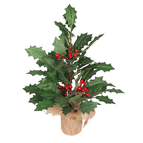 VGIA 18 inch Mini Christmas Tree Artificial Tabletop Christmas Tree Holly Leaf Tree with a Burlap Bag Base