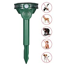 Decdeal Solar Powered Animal & Pest Repeller Ultrasonic Outdoor Repellent with Motion Sensor for Repelling Cats Dogs Birds Bats Raccoons