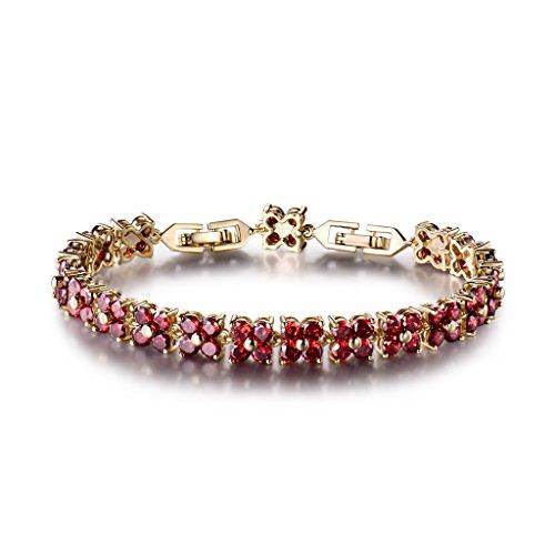 GULICX Fashion Tennis Bracelet Swarovski Elements Crystal Round Crystal Red Bracelet Gold Plated