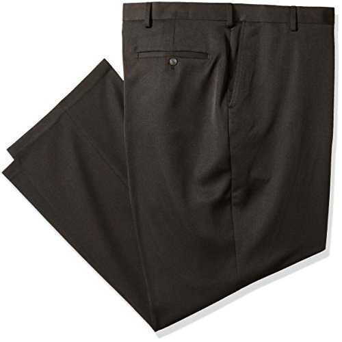 Haggar Men's Big and Tall Travel Performance Heather Expandable Waist Classic Fit Pant, Black, 44W x 30L by Haggar